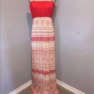 Love Tree Red Safari print Maxi Dress, L